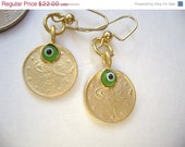 ON SALE Ottoman Gold Vermeille coins with green evil eyes