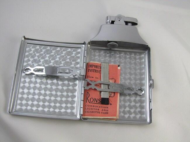 Cigarette case lighter Ronson chrome vintage Art Deco M29 C&E Near Mint Unused Old Stock