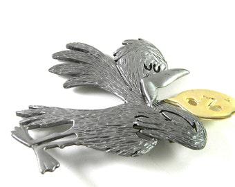 Bird singing Ultracraft Vintage Brooch Pin Figural