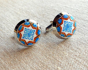 Porto Portugal Antique Azulejo Tile Replica CUFFLINKS - Blue and Brown Geometric -