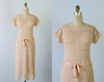 Crochet Dress / 1940s Crochet Knit Dress / Drop Waist / Pink Nectar