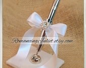 Romantic Satin Wedding Guestbook Pen with Rhinestone Accent...You Choose Colors.... shown in ivory/white bow