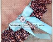 Skirted Satin Bridal Garter Rhinestone Accents..You Choose The Colors..Shown in cheetah/aqua