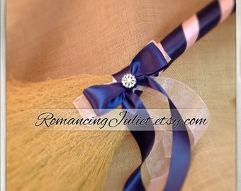 Classic Jump Broom Made in Your Custom Colors with Rhinestone Accent ..shown in navy blue/pale pink
