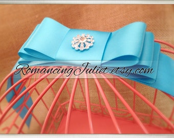 Custom Colors Wedding Card Box Bird Cage with VIBRANT Rhinestone Accent...ANY Color to Match Your Wedding Colors..shown in coral/turquoise