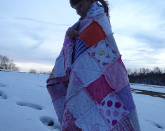 Comfort Quilt, Rag, In Memory, Throw Size,  Memory Quilt, Tshirt Quilt, MADE with YOur Clothing