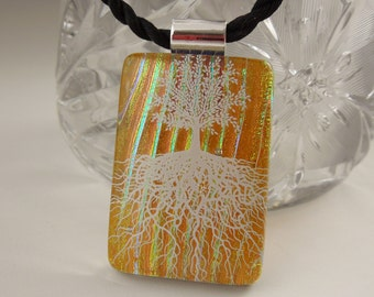 Tree Of Life - Dichroic Fused Glass Pendant - Fused Glass - Image Pendant - Dichroic Glass - Dichroic Jewelry  X8148