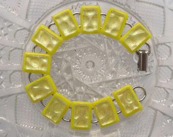 Golden Yellow Bracelet - Dichroic Fused Glass Bracelet - Glass Jewelry - Charm Bracelet X7638