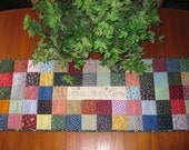Bless This Home Scrappy Squares Patchwork Quilted Table Runner