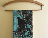 New Zealand Tui bird kitchen tea towel, bird kitchen decor, tui bird photography, pohutakawa tree, bird art, new zealand bird, NZ bird towel