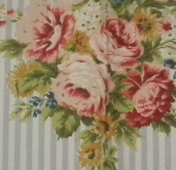 Vintage Barkcloth Era Fabric Roses Cottage Chic From