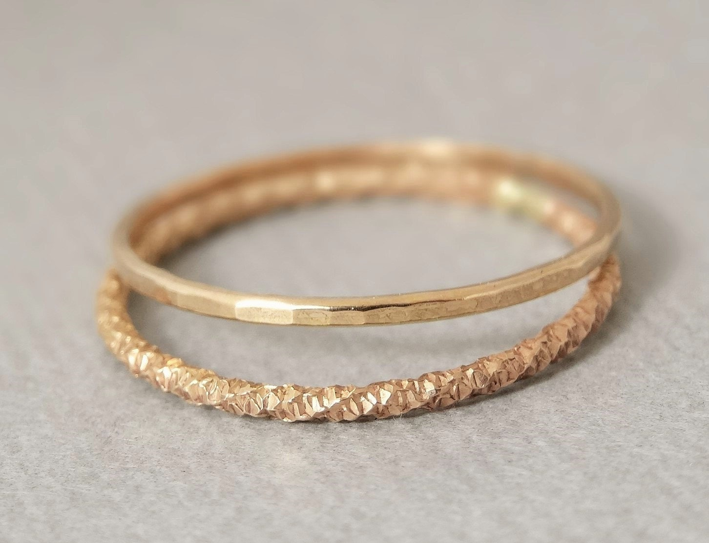 Gold Thumb Ring X2 Delicate Thin Gold Filled Thumb Ring Super