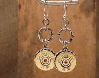 Shotgun Casing Jewelry - Bullet Jewelry - Gun Jewelry - 28g Shotshell Dangle Earrings