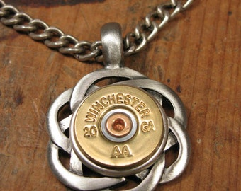 Shotgun Casing Jewelry - Bullet Jewelry - Unisex - Necklace for Man - Brushed Antique Silver Celtic Style 20g Medallion Necklace