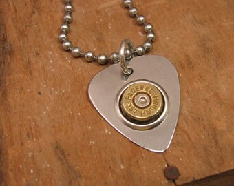 "Bullet Jewelry - ""Power Pickin"" Stainless Guitar Pick Bullet Casing Necklace - Country Music - Bullet Bling"