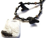 Carved Marble Bird Raven Pendant Statement Necklace in Black and White- Learn to Fly