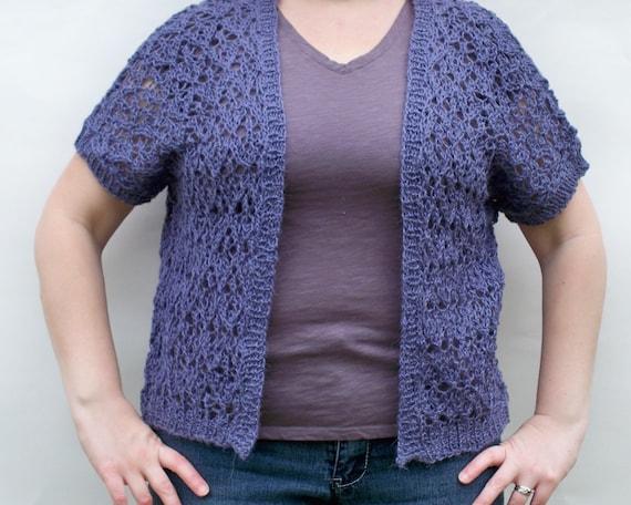 REDUCED 50% OFF Sale - Lace Knit Cardigan - Alpaca Blend Sweater - Womens Knitwear - Purple Jacket