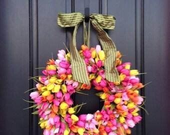 Tulips Front Door Wreath Door Wreaths  Spring Tulips Mother's Day Wreath  Easter Wreaths  Easter Tulips Trending Wreaths