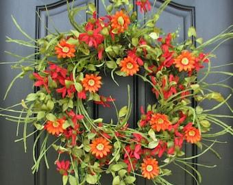 SUMMER Wreath   Front Door Wreath   Red Daisy Wreath   Spring Gardens    Daisy Wreaths