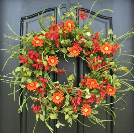 Summer Wreath Front Door Wreath Red Daisy Wreath Spring
