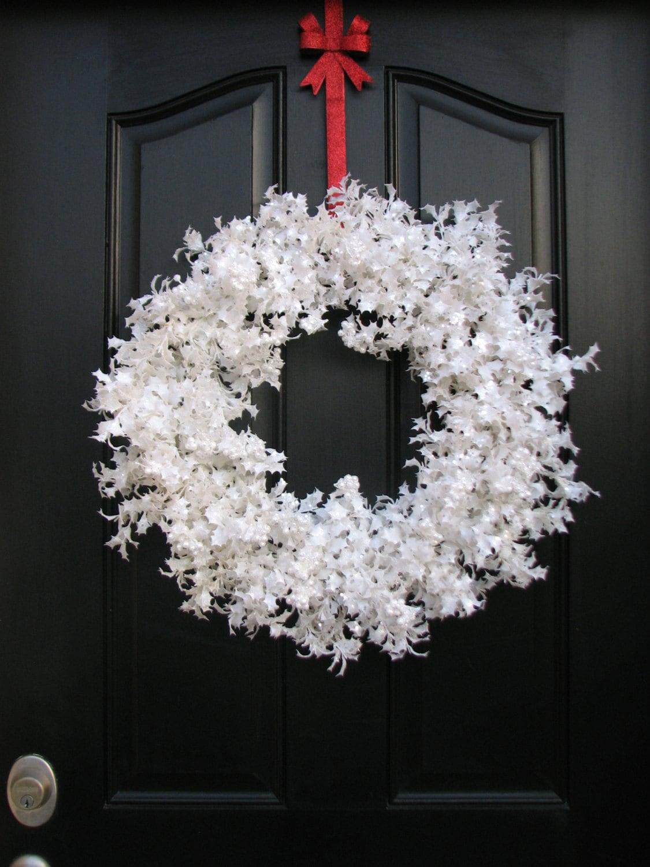 White snow glitter wreath christmas wreath white christmas for Christmas wreath