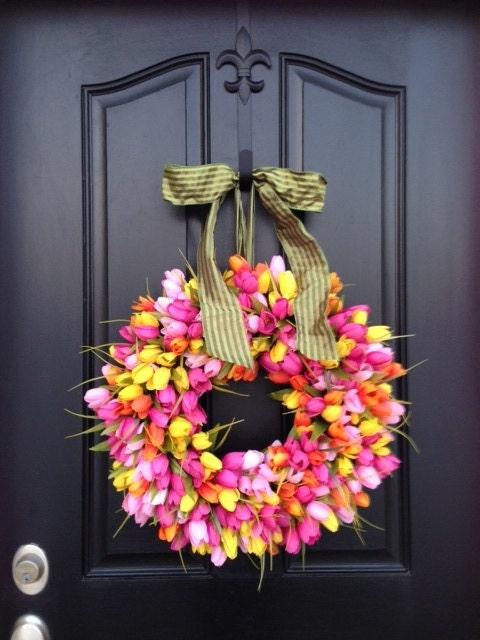 Tulips Front Door Wreath Door Wreaths Spring Tulips