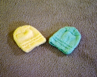 Hand Knitted -  Yellow or Green Baby Hat