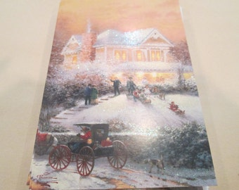 16 Thomas Kinkade Christmas Cards Glitter Vintage Notecards Glittered Victorian Cottage Greeting Cards Xmas Scene Lot Christian