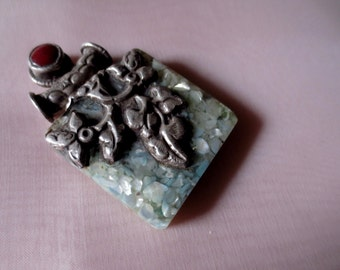 Tibetan Stone Pendant  for Jewelry Design, Tribal Fusion, Bellydance
