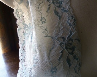 2 yds. Stretch Lace in Teal & Cream FREE TUTORIAL  for Bras, Knickers, Lingerie, Headbands, Waistbands STR 5017