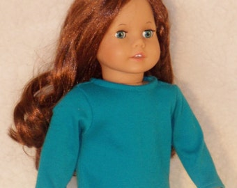 American Girl 18 inch Doll Long Sleeved Teal Blue Crew Neck T-Shirt