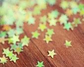 Star Glitter Abstract Photograph, Yellow Falling Stars, citron, pale yellow, geometric, light green light brown wood rustic, kids room decor