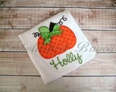 Fall Pumpkin with Bow Appliqued Personalized Ruffle T-shirt  or Onesie for Girls
