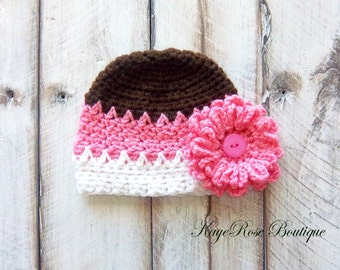 Newborn Baby Girl Crochet Flower Hat White Brown and Pink Stripes