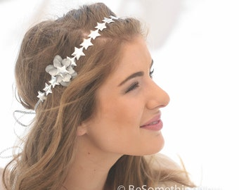 Silver Stars Tie Headband, Headband for Women and Teens, Bohemian Hippie Tie Headband in Silver