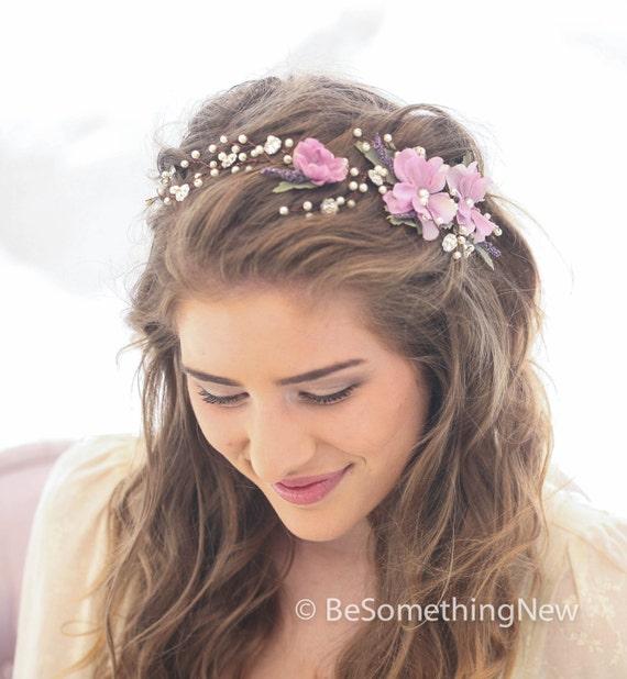 Lavender Flower Hair Wedding Style: Wedding Hair Vine Of Lavender Flowers Pearls And Rhinestones