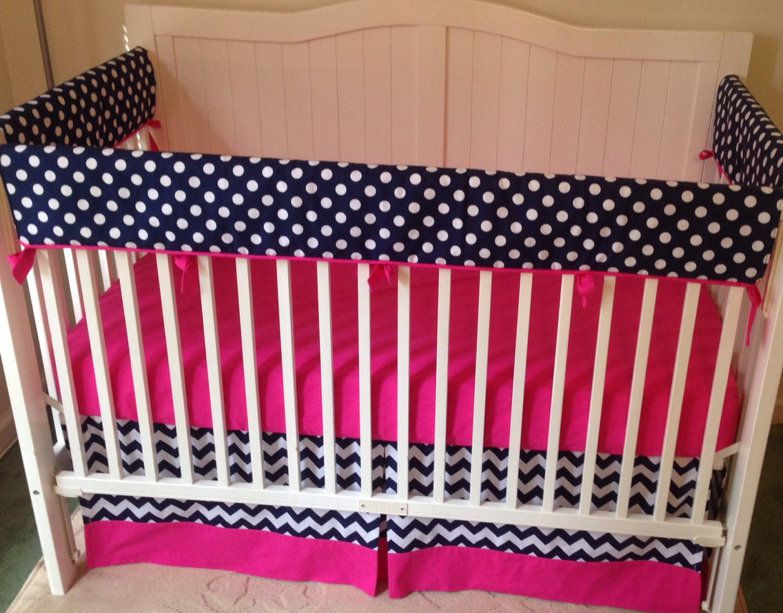 bumperless crib bedding set hot pink and navy. Black Bedroom Furniture Sets. Home Design Ideas