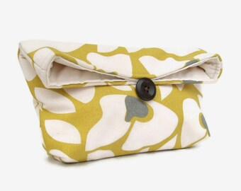 Gray Ivory and Citrine Makeup Bag, Foldover Floral Clutch Purse, Womens Clutch Purse, Bridesmaid Clutch, Citrine Bridesmaid Gift