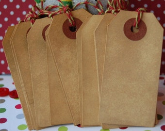 15 Extra Small Tea Stained Manila Shipping Tags 2 3/4 x 1 3/8 strung with Red and Green Timeless Twine --Set of 15 tags -- Ready to Ship