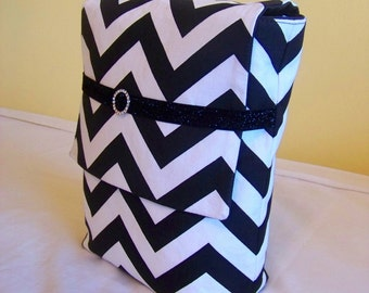 BIBLE COVER Bible Clutch Bible Sleeve CUSTOM Fit to protect your Bible inside Tote. Black Chevron with black canvas
