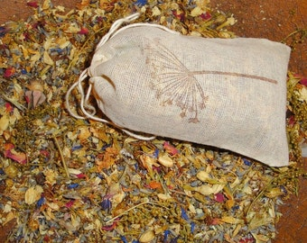 SWEET ANNIE-LAVENDER Sachet Bag-All Natural organic dried herbs in cotton muslin drawstring bag very cottage garden primitive smells herbal