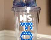 Personalized Acrylic Tumbler 16 oz with Polka Dot Vinyl Name