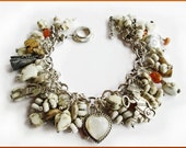 Sterling Silver Moonstone Heart Charm Bracelet with White Stones and Treasures
