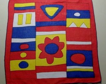 Red Handkerchief with Blue and Goldenrod Abstract Design