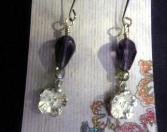 dangle Earrings, handcrafted, purple crystals with tiny Silver Flowers