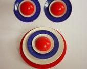 1960s Enamel Bull's Eye / Target Pin & Earring Set RWB Mods