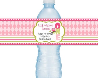 Items similar to Printable Owl Water Bottle Labels, First Birthday ...