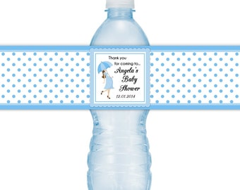 Custom Water Bottle Labels, Baby Umbella, Baby Shower, Polka Dot design, Blue, or your favorite color, Fit on 16.9 oz water bottles