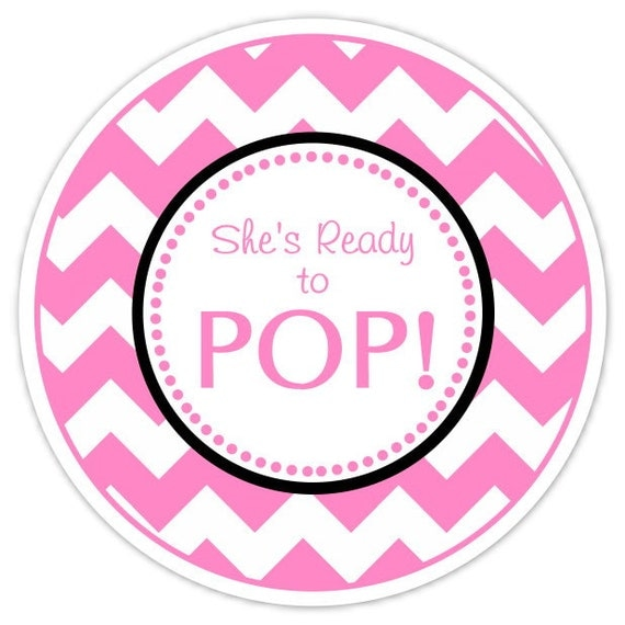 Baby shower ready to pop labels hot pink chevron ready to for Ready to pop stickers template