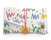 Super Clutch - Eighties squiggle and spot abstract vintage fabric